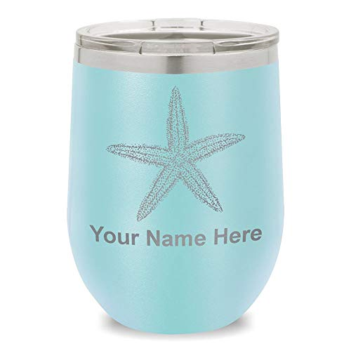 Wine Glass Tumbler, Starfish, Personalized Engraving Included (Light Blue)
