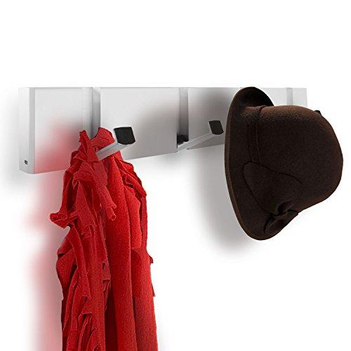 Hookiom 625W Flip Wall Mounted Coat and Hat Rack Hooks, 4 Satin Nickel Hooks/White (Flip Hook)