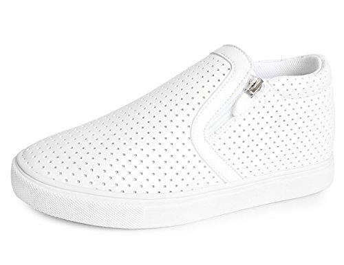 Mnx15 Mens Ascensore Scarpe Altezza Aumento 2.4 Ivy Sneakers Bianche Con Zeppa Tacco Alto Sneakers Bianche