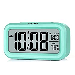 PEAKEEP Battery Operated Smart Night Light Digital Alarm Clock with Indoor Temperature, Mint