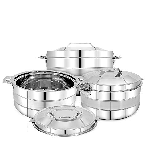 Pigeon Galaxy Stainless Steel Casserole Set, 3 Pieces, Silver