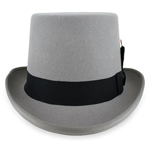 Belfry Topper 100% Wool Satin Lined Men's Top Hat in Black Available in 4 Sizes (Medium, ()