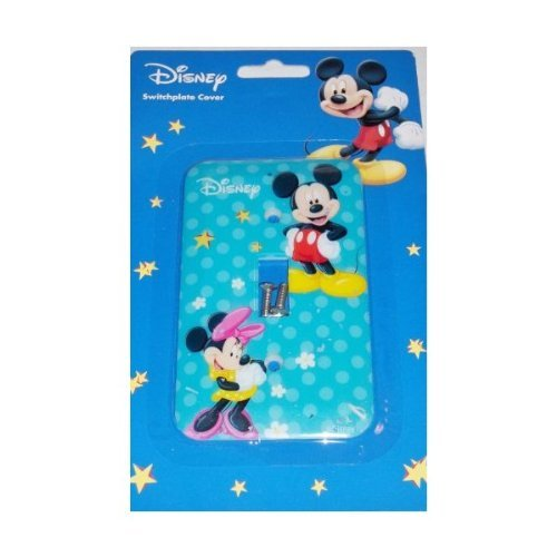 Disney Mickey and Minnie Mouse Switchplate Cover - Kids Nursery Bedroom Playroom Wall Decor (Switchplate Plastic)
