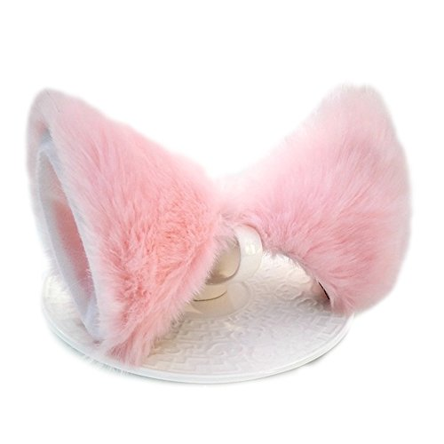 Sheicon Cat Fox Fur Ears Hair Clip Headwear Anime Cosplay Halloween Costume Color Pink Size One Size