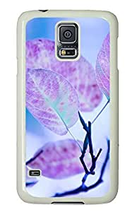 Samsung S5 case carry Purple Leaves Cute PC White Custom Samsung Galaxy S5 Case Cover