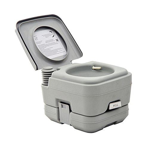 HOMCOM Portable Travel Camping Toilet Outdoor Hiking - 2.8 - Holding Tank Gallon 2.8