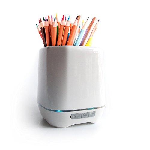 (Pen Pencil Holder Desk Tools Storage Box with MP3 Music Bluetooth Speaker)