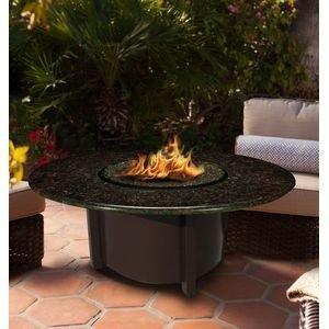 California Outdoor Concepts 5010-BR-PG1-BM-42 Carmel Chat Height Fire Pit-Brown-Diamond White Glass-Black Mahogany - 42 in.