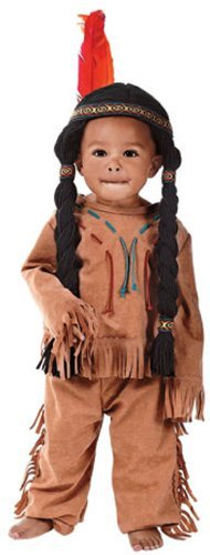 Child Small (Size 4-6, 3-4 Yrs) Indian Boy Costume with Headpiece/Attached Wig - Yarn Baby Costume - Halloween Costumes For 3 People Group