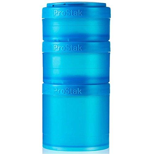 BlenderBottle ProStak Twist n Lock Storage Jars Expansion 3-Pak with Pill Tray, Aqua