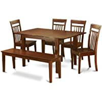 East West Furniture PSCA6C-MAH-W 6-Piece Dining Table Set