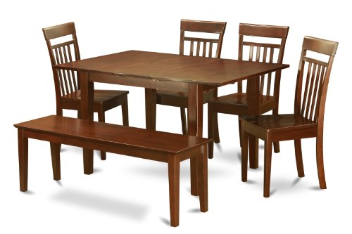 PSCA6C-MAH-W 6-Pc Dining room set with bench -Tables with 4 Dining Chairs and Bench