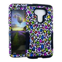 UnlimitedCellular XL Hopper Hybrid Case - Design Hopper Case. Colorful Leopard Print Snap&Black Sk (Print Leopard Snap)