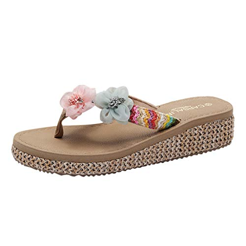 Answerl Comfortable Flip Flops and Sandals for Women Bohemia Floral Platform Sandals Casual Slippers Beach Shoes Beige ()