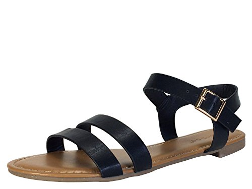 BAMBOO Women's Double Band Flat Sandal with Quarter Strap, Black PU, 9.0 B US