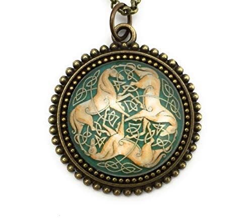 Celtic Horse Necklace Three Horses with Celtic Knot