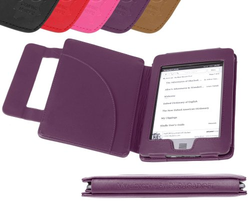 DURAGADGET Purple Genuine Leather Book Style Cover Case With Magnetic Clasp For Amazon New Kindle Touch and Touch 3G, Wi-Fi, 6 - Inch Display