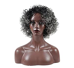 Kinky Curly Hair Wigs for Black Women Fluffy Wavy Synthetic Wig Natural Looking Heat Resistant Wigs Half Hand Tied Willsa (Gray)