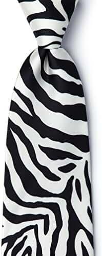 Zebra Print Black Silk Tie