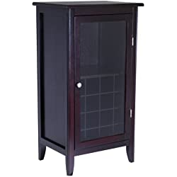 Winsome Wood Wine Cabinet with Glass Door, Espresso