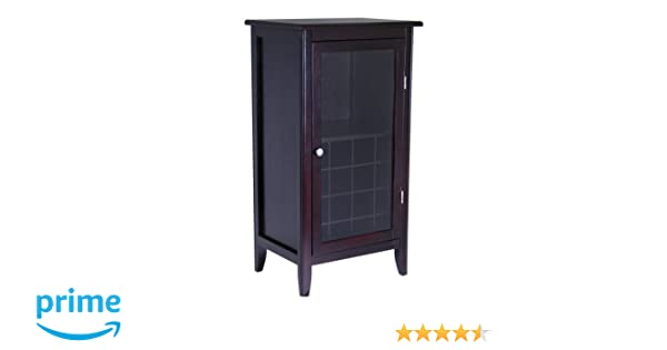 Winsome Wood Wine Cabinet With Glass Door Espresso Amazon Home