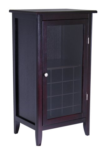 Amazon Winsome Wood Wine Cabinet With Glass Door Espresso