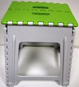 """18"""" Step Stool - Imperial Easy Folding Step Stool With Handles - MW1112 Green & White Large"""