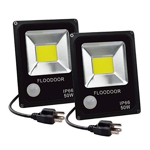 FLOODOOR LED Motion Sensor Light Outdoor 50W 110V Security Light IP66 Waterproof Super Bright Motion Night Light,4500LM,6000K,Daylight White,250W Bulb Equivalent,PIR Intelligent Sensor Light(2 Pack) ()