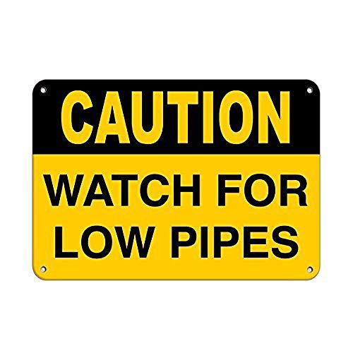 低パイプハザードサインの注意時計 金属板ブリキ看板注意サイン情報サイン金属安全サイン警告サイン表示パネル