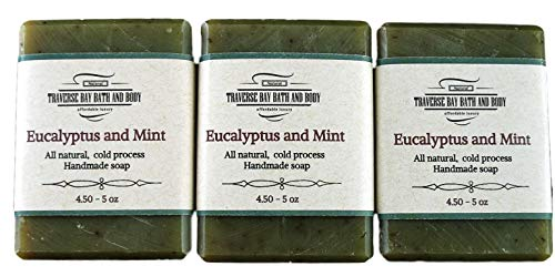 Eucalyptus and Peppermint, all natural handmade cold process soap, essential oil soap. 3 bar pack 15 + ()
