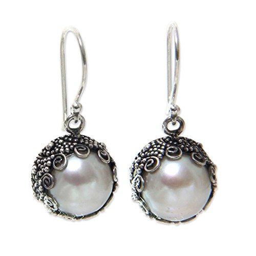 NOVICA White Cultured Freshwater Pearl .925 Sterling Silver Dangle Earrings, Sanur Moon'