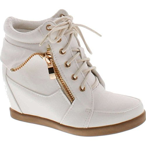 Lucky Top Girls Peter-30K Kids Fashion Leatherette Lace-Up High Top Wedge Sneaker Bootie,White,4 -