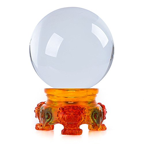 Mystic Gazing Ball - Amlong Crystal 3 inch (80mm) Clear Crystal Ball with Rainbow Lion Resin Stand