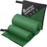 Microfiber Towel Set 2 Pack (L+ S) Sports, Beach, Travel Towel Fast Drying, Ultra Absorbent and Compact Suitab