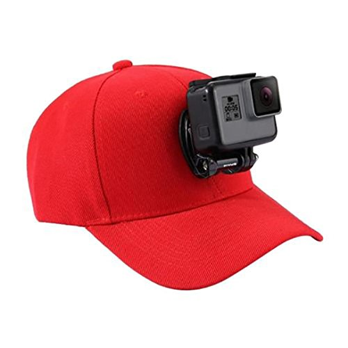 Red Hat Holder - Besde Men's Baseball Cap For GoPro Action Cameras Holder Hat With J-Hook Buckle Mount Screw (A, Red)