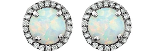 Created Opal Cabochon and Diamond Halo Button Earrings, Rhodium-Plated 14K White Gold by The Men's Jewelry Store (for HER)