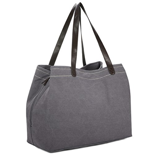 Women's Canvas Handbag, Gracosy Fashion Designer Satchel Handbag Multi-Color Tote Bag Top-Handle Shoulder Bag Casual Beach Bags Large Shopping Bags Grey