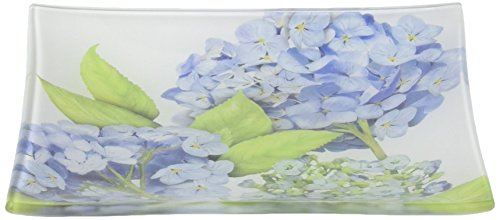 (Paperproducts Design Gift-Boxed Glass Dish Displaying Blue Hydrangea Design, 6 x 6 x 1