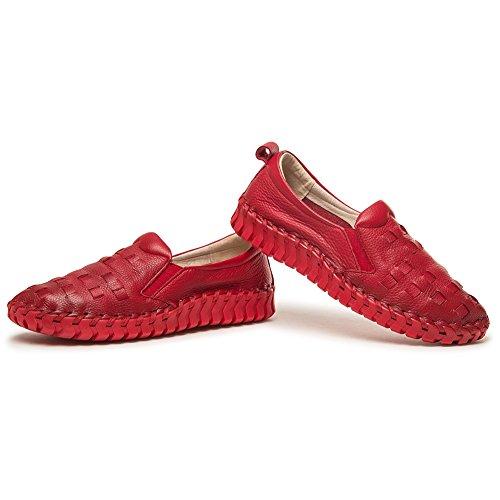 Shenn Mujer Ponerse Respirar Comodidad Casual Cuero Zapatillas Rojo