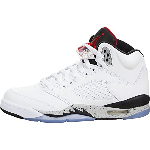 Jordan Air 5 Retro BG White Cement Kids Casual Sneakers - 4 (4 Cement Retro)