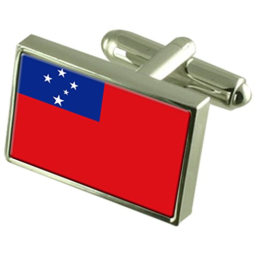 Samoa Sterling Silver Flag Cufflinks in Engraved Personalised Box by Select Gifts