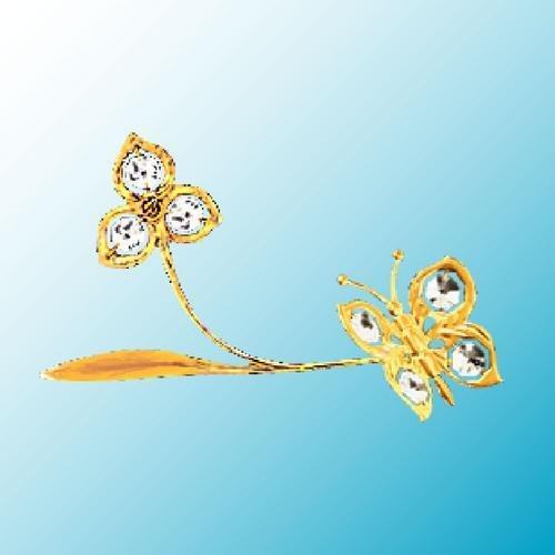 24k Gold Plated Butterfly with Flower on Branch - Sun Catcher or Magnet - Clear Swarovski Crystal