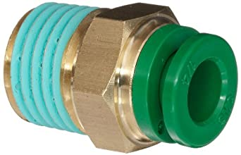 """SMC KR Series Brass Flame Resistant Push-to-Connect Tube Fitting, Connector with Sealant, 1/4"""" Tube OD x 1/4"""" NPT Male"""