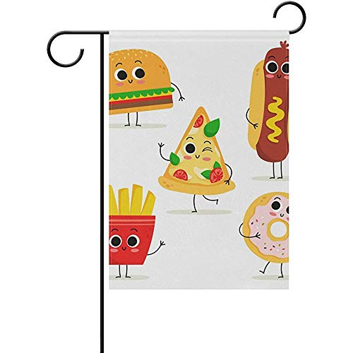 CdVeK9ca Funny Cartoon Fast Food Polyester Welcome Seasonal