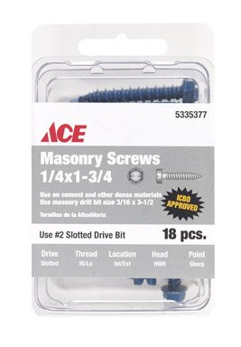 Ace Fastener - Ace Masonry Screws Use On Cement And Other