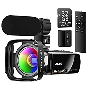 Flashandfocus.com 41VGa6bVGTL._SS300_ Besungo Ultra HD 4K Camcorder Video Camera with Rechargeable Microphone 2.4G Remote Control Vlogging YouTube Camera…