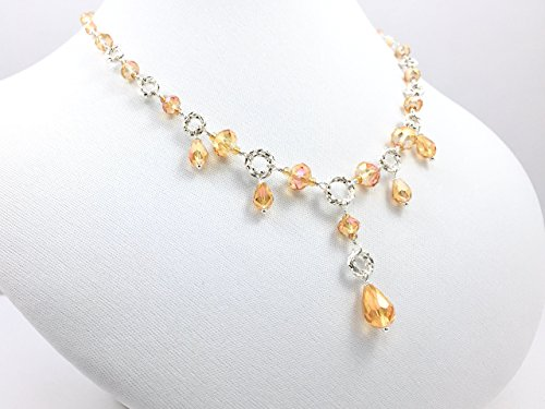 Sterling Silver Wire Wrapped Necklace with Golden Topaz Crystals