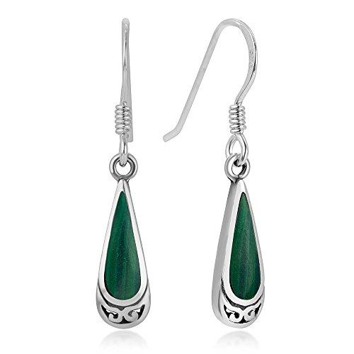 - 925 Sterling Silver Bali Inspired Gemstone Green Malachite Celtic Design Dangle Hook Earrings