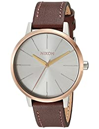 Nixon Women's 'Kensington' Quartz Stainless Steel and Leather Casual Watch, Color:Brown (Model: A1082632-00)
