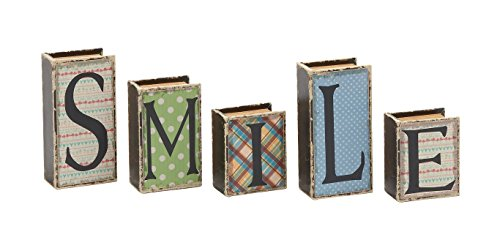 Deco 79 Smile Written Wood Faux Leather Book Box, Set of 5
